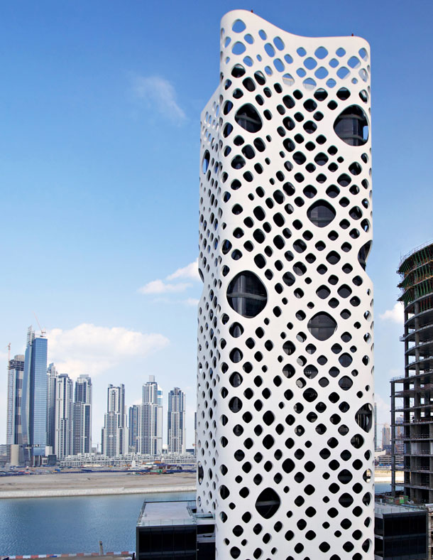 O-14 office tower or Swiss Cheese Tower Dubai